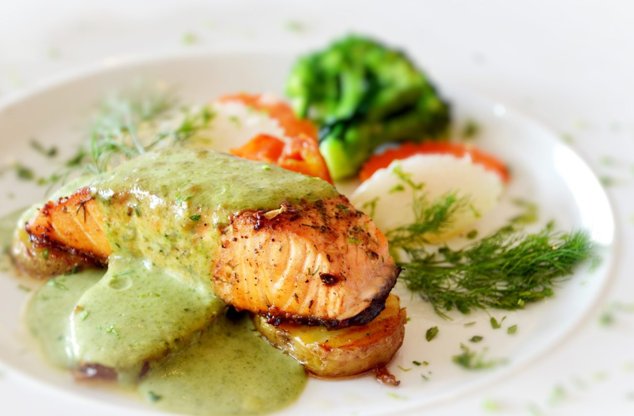 Seared Salmon Steaks with Green Ginger Sauce