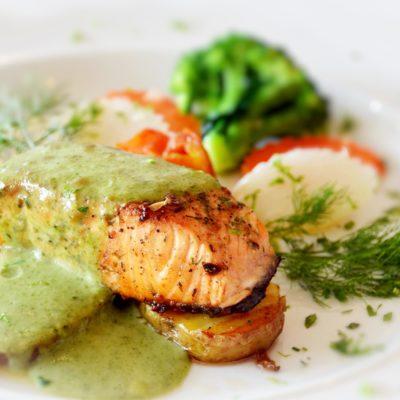 salmon green sauce flipped
