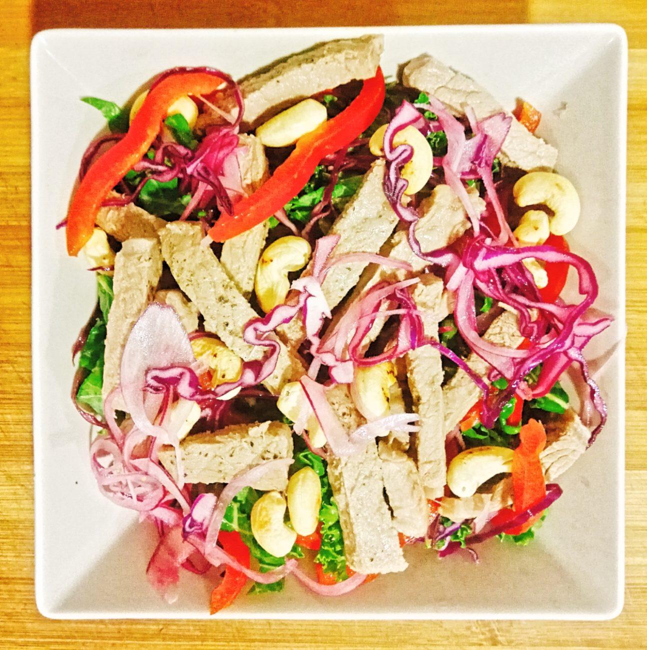 High Protein Thai Steak Salad with homemade Tahini Dressing