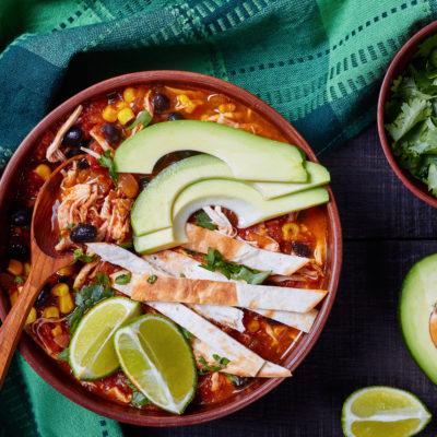 high protein chicken tortilla soup